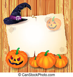 Halloween background with blank paper, hat and pumpkins