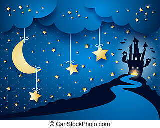 Halloween background with castle and moon, vector eps10