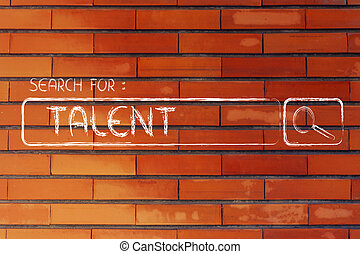 search engine bar, search for talent