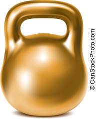 Kettlebell weight gold isolated Illustration