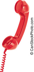 Handset of telephone. Isolated. Vector illustration