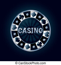 Diamond casino poker chip, vector illustration