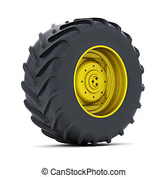 Tractor wheel isolated on white background