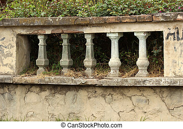 Stone Bannister - A stone bannister next to a property in...