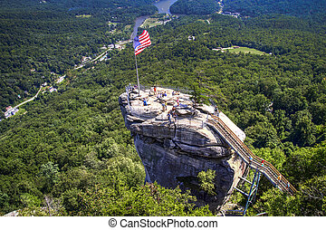 Chimney Rock State Park overlook with Lake Lure in the...