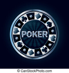 Diamond poker chip, vector