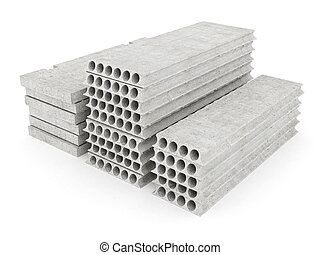 slabs of concrete on a white isolated background
