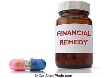 Financial remedy - Open medicine pill with dollar sign and...