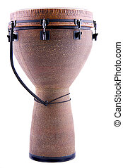 African Djembe Isolated on White