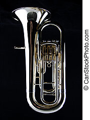 Bass Tuba Euphonium on Black - A complete brass gold bass...