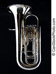 Bass Tuba Euphonium on Black - A complete brass gold bass...
