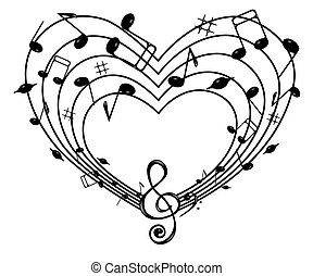 Heart of the music - On the white background of black notes...