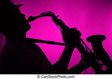 saxofone, jogado, silueta, Cor-de-rosa, fundo