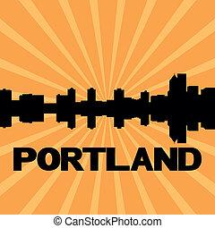 Portland skyline sunburst