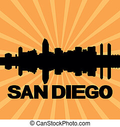 San Diego skyline sunburst - San Diego skyline reflected...