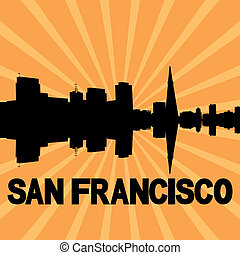 San Francisco skyline sunburst - San Francisco skyline...