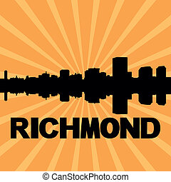 Richmond skyline sunburst - Richmond skyline reflected with...