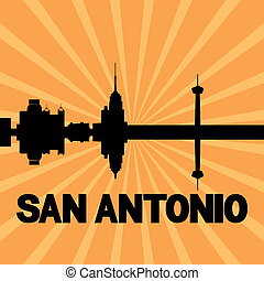 San Antonio skyline sunburst - San Antonio skyline reflected...