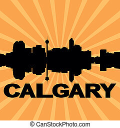 Calgary skyline sunburst - Calgary skyline reflected with...
