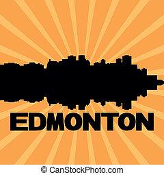 Edmonton skyline sunburst - Edmonton skyline reflected with...
