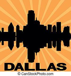 Dallas skyline sunburst
