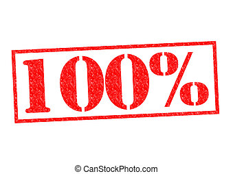 100 Rubber Stamp over a white background