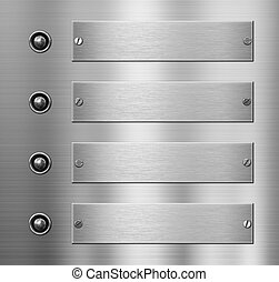 four metal plates with buttons over metalic background