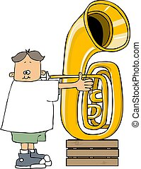 Boy playing a tuba - This illustration depicts a small boy...
