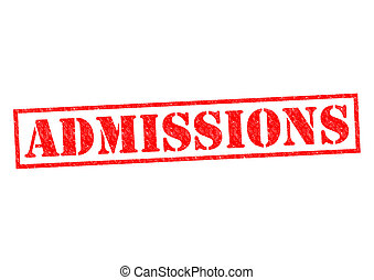 ADMISSIONS red Rubber Stamp over a white background