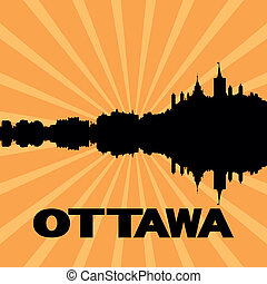 Ottawa skyline sunburst - Ottawa skyline reflected with...