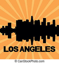 Los Angeles skyline sunburst - Los Angeles skyline reflected...