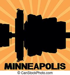 Minneapolis skyline sunburst - Minneapolis skyline reflected...