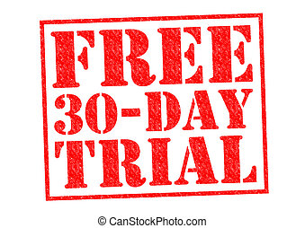 FREE 30 DAY TRIAL red Rubber Stamp over a white background.