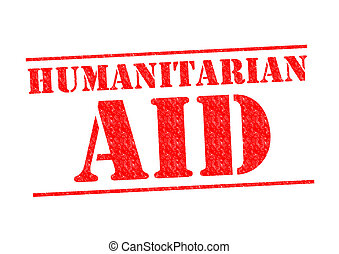 HUMANITARIAN AID red Rubber Stamp over a white background