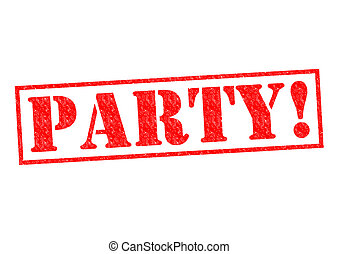 PARTY! red Rubber Stamp over a white background.