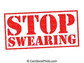 STOP SWEARING red Rubber Stamp over a white background.