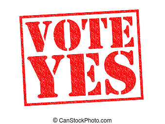 VOTE YES red Rubber Stamp over a white background