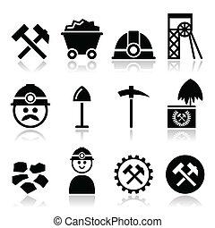 carbón, mina, minero, iconos, Conjunto