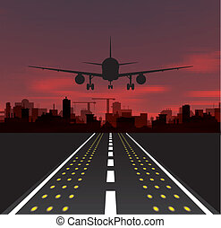 The plane is taking off at sunset and night city. Vector...