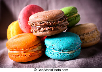 Sweet colorful cookies - Sweet colorful French traditional...