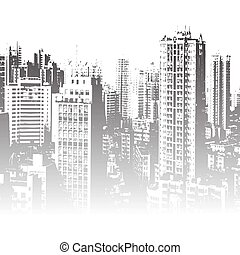 Panorama of the city cartoon illustration in black and white...