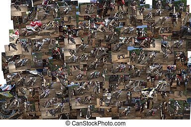 Collage Motocross - Closeup of a motocross bike