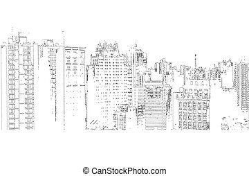 Panorama of the city cartoon