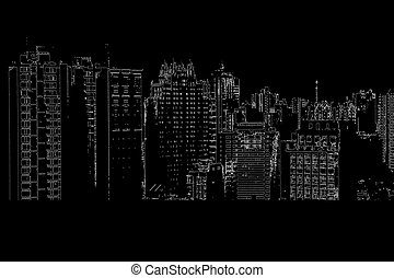 Panorama of the city cartoon illustration
