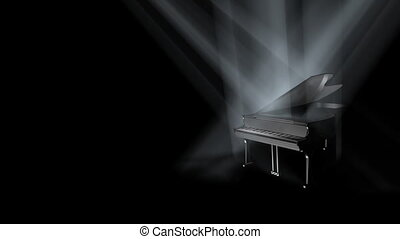 Piano on Stage Loop (HD) - Piano on stage in spot lights....