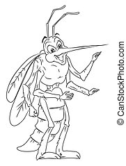 black and white Mosquito Cartoon