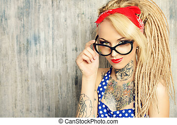 pin-up spectacles - Close-up portrait of a modern pin-up...