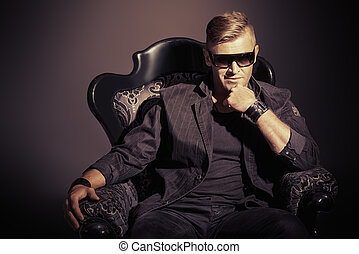 vintage chic - Portrait of a masculine handsome man in...