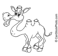 black and white Camel Cartoon