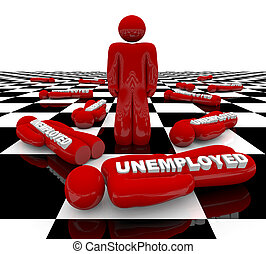 Unemployment - Last Man Standing - A red figure stands alone...